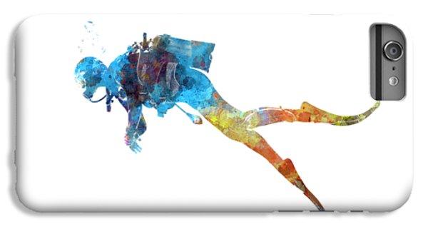 Scuba Diving iPhone 8 Plus Case - Man Scuba Diver 01 In Watercolor by Pablo Romero