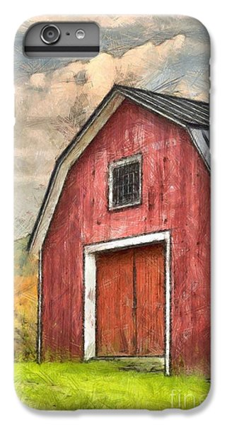 New England Barn iPhone 8 Plus Case - New England Red Barn Pencil by Edward Fielding