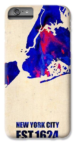 City Scenes iPhone 8 Plus Case - New York City Watercolor Map 1 by Naxart Studio