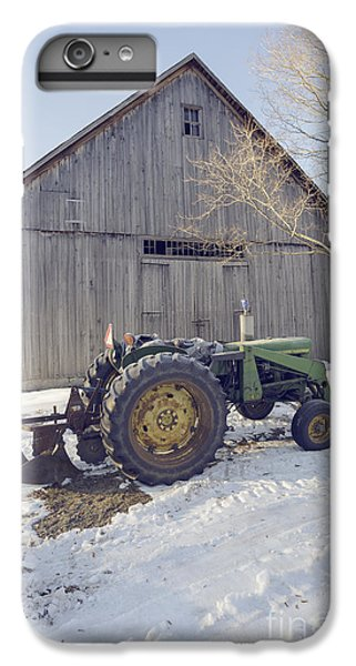 New England Barn iPhone 8 Plus Case - Old Tractor By The Barn Winter Etna by Edward Fielding