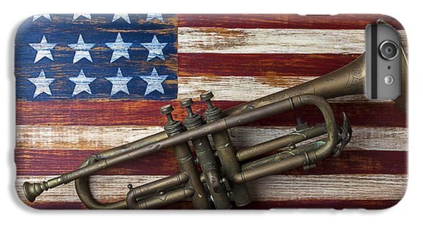 Trumpet iPhone 8 Plus Case - Old Trumpet On American Flag by Garry Gay