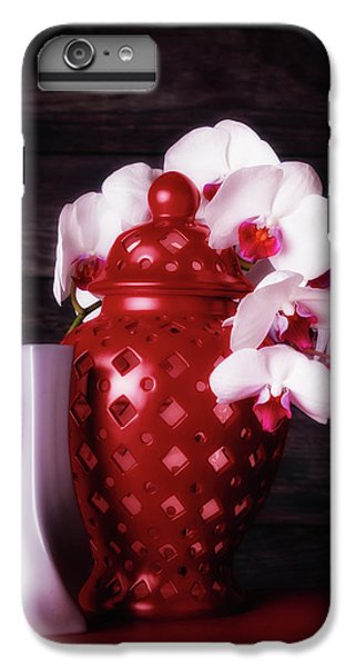 Orchid iPhone 8 Plus Case - Orchids With Red And Gray by Tom Mc Nemar
