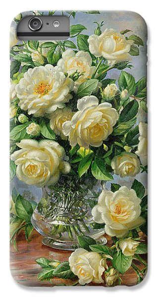 Rose iPhone 8 Plus Case - Princess Diana Roses In A Cut Glass Vase by Albert Williams