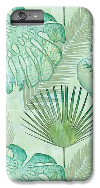 Beach iPhone 8 Plus Case - Rainforest Tropical - Elephant Ear And Fan Palm Leaves Repeat Pattern by Audrey Jeanne Roberts