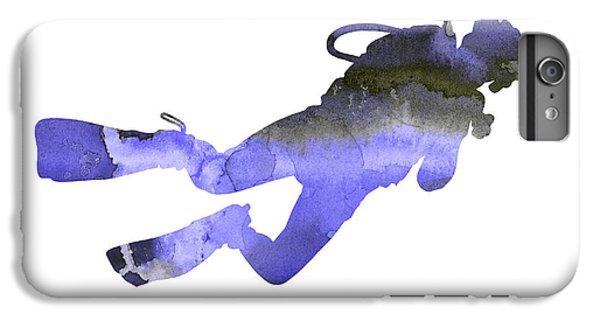 Scuba Diving iPhone 8 Plus Case - Scuba Diver Watercolor Silhouette by Joanna Szmerdt