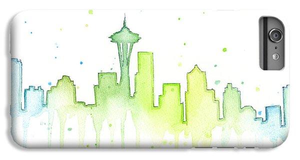 City Scenes iPhone 8 Plus Case - Seattle Skyline Watercolor  by Olga Shvartsur