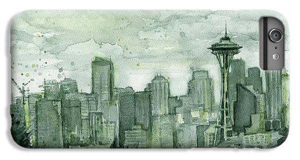 City Scenes iPhone 8 Plus Case - Seattle Skyline Watercolor Space Needle by Olga Shvartsur