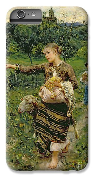 Rural Scenes iPhone 8 Plus Case - Shepherdess Carrying A Bunch Of Grapes by Francesco Paolo Michetti