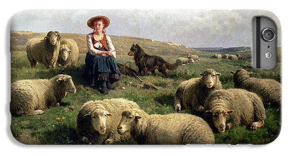 Rural Scenes iPhone 8 Plus Case - Shepherdess With Sheep In A Landscape by C Leemputten and T Gerard