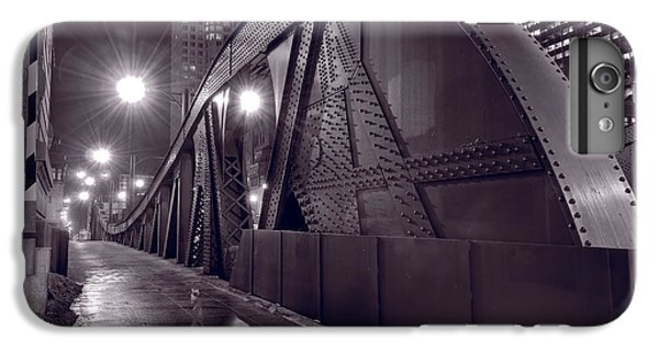 Chicago River iPhone 8 Plus Case - Steel Bridge Chicago Black And White by Steve Gadomski