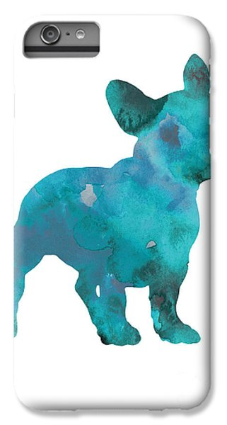 Dog iPhone 8 Plus Case - Teal Frenchie Abstract Painting by Joanna Szmerdt