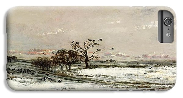 Rural Scenes iPhone 8 Plus Case - The Snow by Charles Francois Daubigny