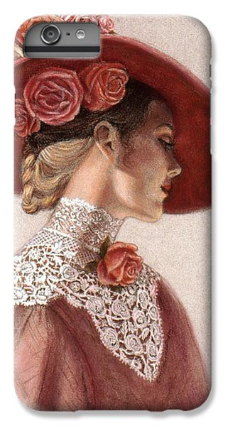 Rose iPhone 8 Plus Case - Victorian Lady In A Rose Hat by Sue Halstenberg