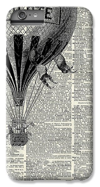 The iPhone 8 Plus Case - Vintage Hot Air Balloon Illustration,antique Dictionary Book Page Design by Anna W