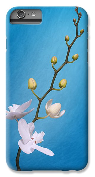 Orchid iPhone 8 Plus Case - White Orchid Buds On Blue by Tom Mc Nemar
