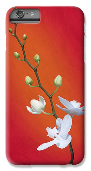 Orchid iPhone 8 Plus Case - White Orchid Buds On Red by Tom Mc Nemar