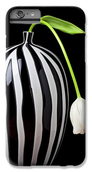 Tulip iPhone 8 Plus Case - White Tulip In Striped Vase by Garry Gay