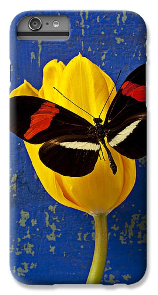 Tulip iPhone 8 Plus Case - Yellow Tulip With Orange And Black Butterfly by Garry Gay