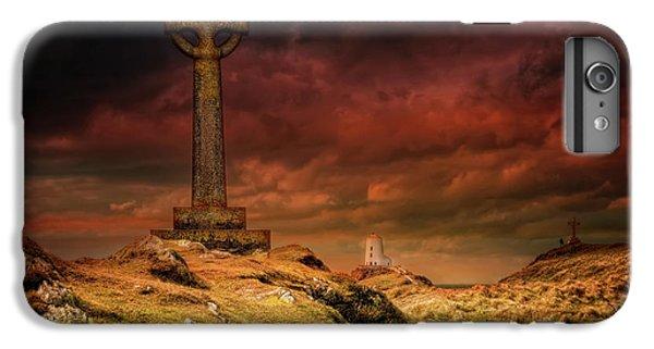 Celtic Cross iPhone 8 Plus Case - Celtic Cross Llanddwyn Island by Adrian Evans