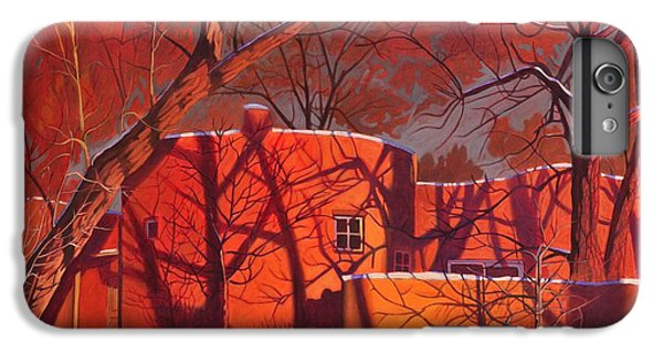 Red iPhone 8 Plus Case - Evening Shadows On A Round Taos House by Art West