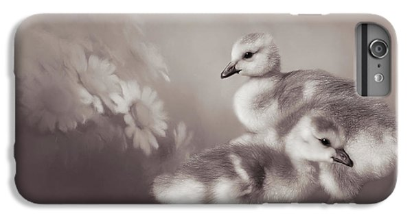 Gosling iPhone 8 Plus Case - Goslings And Daisies - Sepia by Donna Kennedy