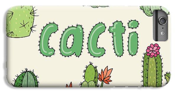 Shrub iPhone 8 Plus Case - Hand Drawn Cactus Icons. Vector by Maria Sem