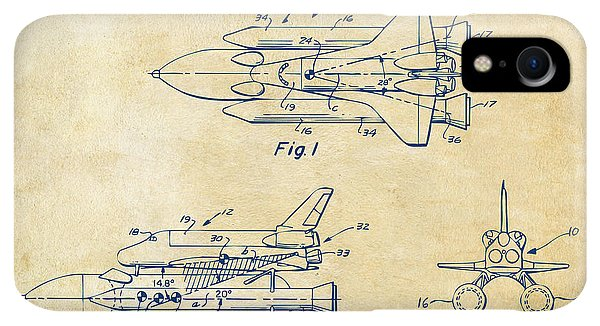 Space iPhone XR Case - 1975 Space Shuttle Patent - Vintage by Nikki Marie Smith