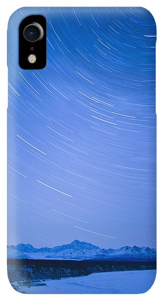 Winter iPhone XR Case - Night Time View Of Star Trails Over Mt by Kevin Smith