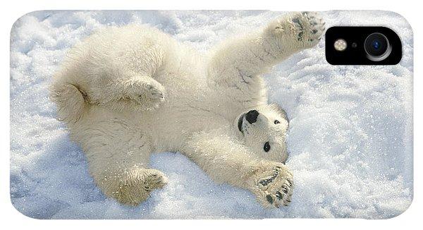 Winter iPhone XR Case - Polar Bear Cub Playing In Snow Alaska by Mark Newman