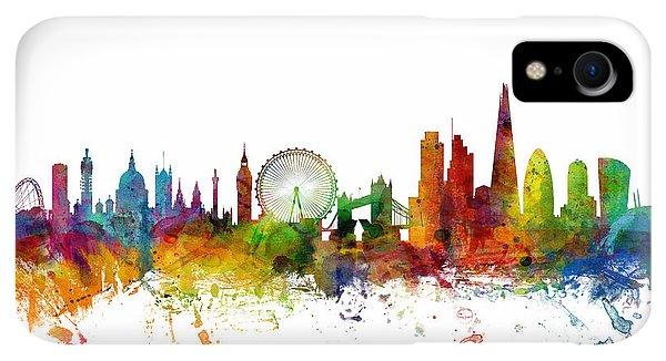 Print iPhone XR Case - London England Skyline by Michael Tompsett