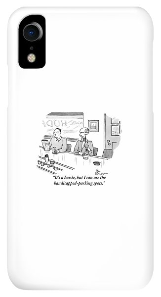 Bar iPhone XR Case - A Crash Test Dummy Talks To Another Patron by Leo Cullum