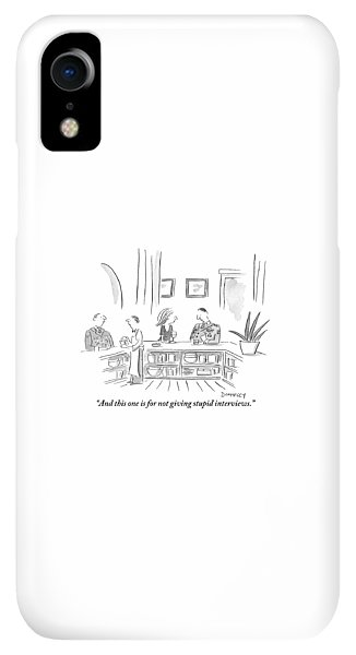 Bar iPhone XR Case - A General Explains His Medals To The Woman Seated by Liza Donnelly