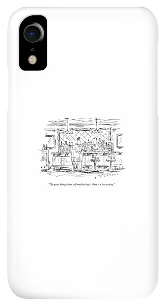Bar iPhone XR Case - A Man At A Bar Talking To The Bartender by Barbara Smaller