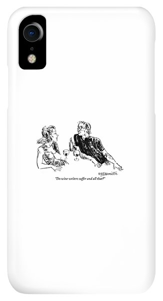 Bar iPhone XR Case - A Woman Is Seen Speaking With A Man As They Drink by William Hamilton