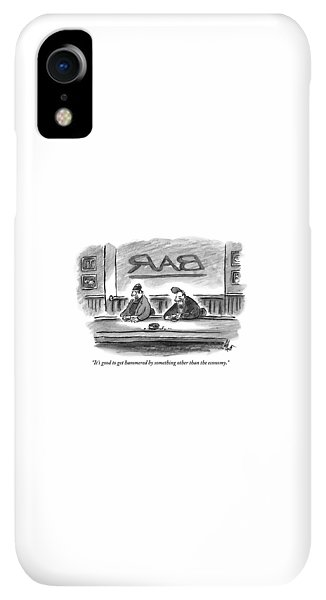 Bar iPhone XR Case - An Unshaven Man Says To Another Man At A Bar by Frank Cotham