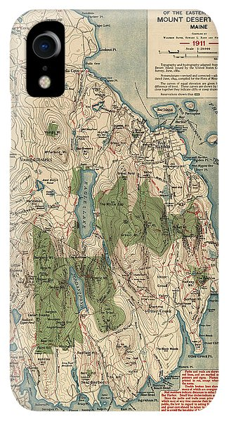 Bar iPhone XR Case - Antique Map Of Mount Desert Island - Acadia National Park - By Waldron Bates - 1911 by Blue Monocle
