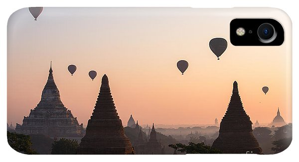 Print iPhone XR Case - Ballons Over The Temples Of Bagan At Sunrise - Myanmar by Matteo Colombo