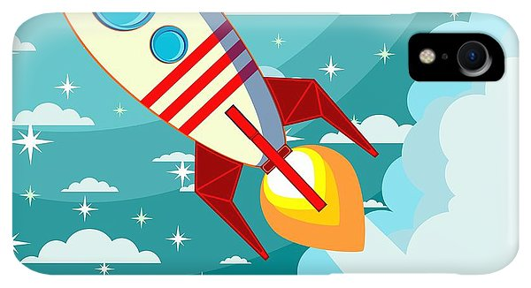 Fairy iPhone XR Case - Cartoon Rocket Taking Off Against The by Alekseiveprev