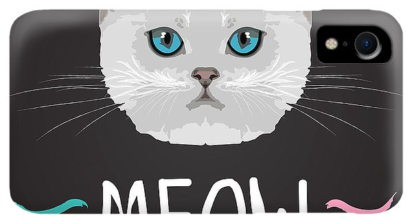Small iPhone XR Case - Cat Typography, T-shirt Graphics by Patterntrends