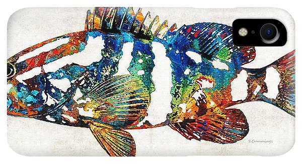 Scuba Diving iPhone XR Case - Colorful Grouper 2 Art Fish By Sharon Cummings by Sharon Cummings