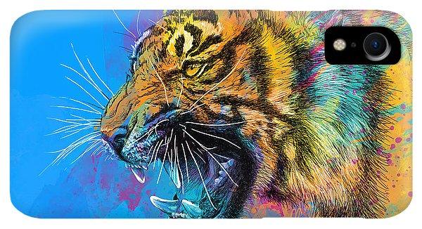 Print iPhone XR Case - Crazy Tiger by Olga Shvartsur