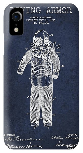 Scuba Diving iPhone XR Case - Diving Armor Patent Drawing From 1893 by Aged Pixel