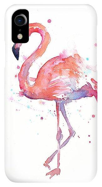 iPhone XR Case - Flamingo Watercolor by Olga Shvartsur