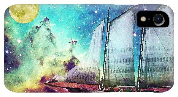 Boats iPhone XR Case - Galileo's Dream - Schooner Art By Sharon Cummings by Sharon Cummings