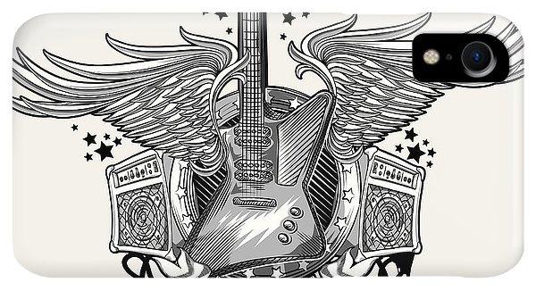 Space iPhone XR Case - Guitar Emblem by Alex bond