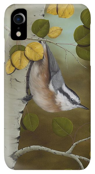Print iPhone XR Case - Hanging Around-red Breasted Nuthatch by Rick Bainbridge