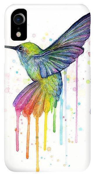 Print iPhone XR Case - Hummingbird Of Watercolor Rainbow by Olga Shvartsur