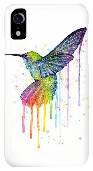 iPhone XR Case - Hummingbird Of Watercolor Rainbow by Olga Shvartsur