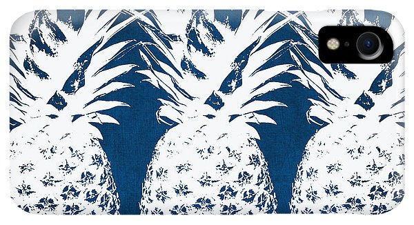 Print iPhone XR Case - Indigo And White Pineapples by Linda Woods