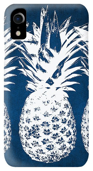 iPhone XR Case - Indigo And White Pineapples by Linda Woods